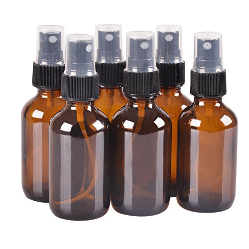 6 Pack,4oz Amber Glass Bottle Bottles with Black Fine Mist Sprayer.Refillable & Reusable.Designed for Essential Oils, Perfumes,Cleaning Products,Aromatherapy.6 Chalk Labels as gift.