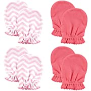 Luvable Friends Scratch Mittens 4 Pack, Pink Chevron