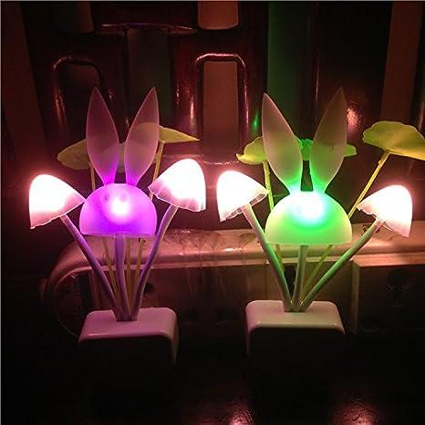 1 PCS Mushroom /& Lotus Lamp BlueSunshine Sensor Led Night Light 7 Color Changing Plug-in LED Mushroom /& Lotus Dream Bed Lamp