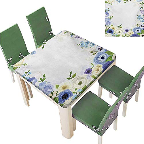 Star Tablecloth,Romantic Natural Floral Frame Design with Roses Peonies and Fresh Spring Leaves Waterproof Polyester Tablecloths for Tables,43.5W x 43.5L Inches(Elastic Edge) ()