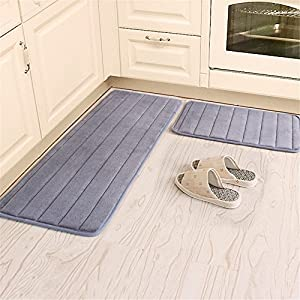 Kitchen Rugs, CAMAL 2 Pieces Non-Slip Memory Foam Stripe Kitchen Mat Rubber Backing Doormat Runner Rug Set