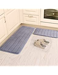 Kitchen Rugs, CAMAL 2 Pieces Non Slip Memory Foam Stripe Kitchen Mat Rubber  Backing