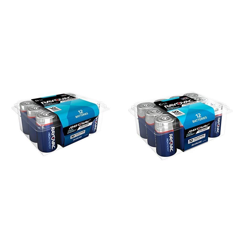 Rayovac D Batteries, Alkaline D Cell Batteries (12 Battery Count) & C Batteries, Alkaline C Cell Batteries (12 Battery Count)