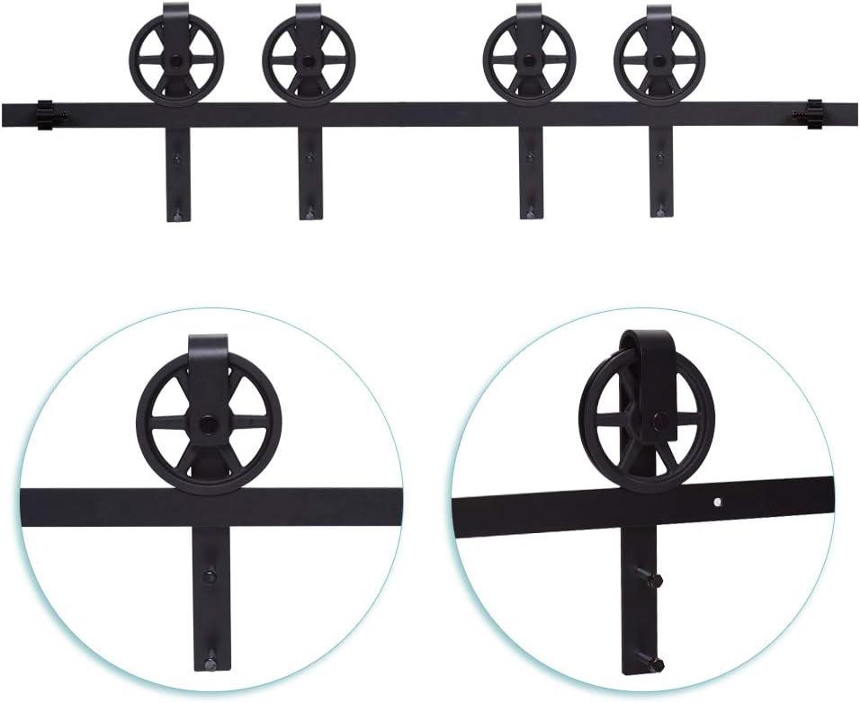 121cm//4FT Schiebe holzt/ür,Schiebet/ürbeschlag Set Doppelt/ür Schiebet/ürsystem Zubeh/örteil,Schwarz-Big Spoke Wheel Sliding Barn Door Kit