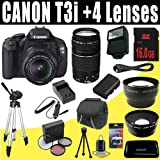 Canon EOS Rebel T3i 18 MP CMOS Digital SLR Camera with EF-S 18-55mm f/3.5-5.6 IS II Zoom Lens and Canon EF 75-300mm f/4-5.6 III Telephoto Zoom Lens + Wide Angle/Telephoto 16GB Deluxe Accessory Kit, Best Gadgets