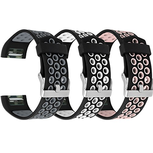 (RedTaro Bands Compatible with Fitbit Charge 2, 3 Pack Breathable Silicone Replacement Bands for Fitbit Charge 2 with Secure Watch Clasp (No Tracker))