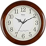 Cheap HENSE 13-inch Wood Wall Clock Decorative for Living Room Modern Clock Quartz Analog Movement Silent Wall Clock For Home Large Solid Platane Arabic Numerals Wood Wall Clock Non Ticking HW13 #A-NEW