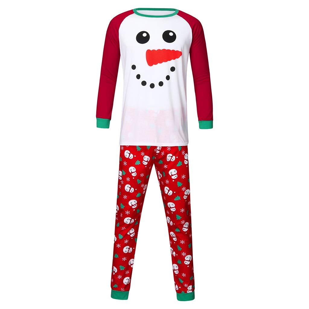 Matching Family Pajamas Set Men's Sleepwear Xmas Cartoon Snowman Sleep Shirt Long Sleeves with Pants Nightgown by CCOOfhhc