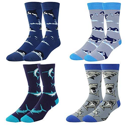 Men's Novelty Funny Shark Crew Socks Cute Whale Animal Cotton ()