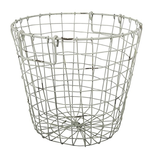 A&B Home D42474-WHIT Grafton Round Wire Basket, Antique White, 13.8 by 12.6
