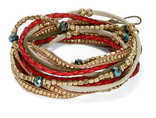 SPUNKYsoul Handmade Boho 3 & 4 Wrap Multi Strand Bracelet Red Gold for Women Collection (Bracelets Spirit Strand)