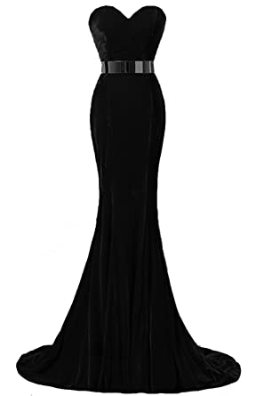 YSFS Womens Velvet With Belt Long Evening Dress Prom Dress (UK6, Black)