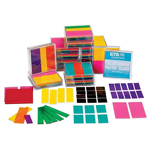 Classroom Division Kit (ETA hand2mind Deluxe Plastic Rainbow Fraction Squares Classroom Basics Kit)