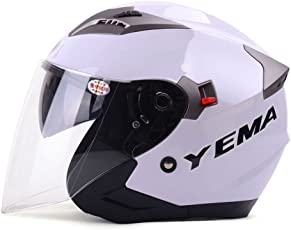 Fatmingo Motorcycle Helmet 3/4 Open Face Helmet with Sun Visor and Fogproof Wind shield