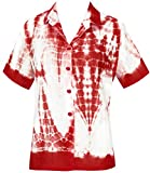 LA LEELA Cotton Hawaiian Cruise Tunics Camp Shirt White 761|L - US 38 - 40D