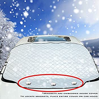 61x53 Thickened Snow Covers for Car Winter Windshield Cover for Ice and Frost BUG HULL XL Car Windshield Cover for Snow Auto Snow Windshield Cover
