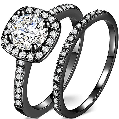Jude Jewelers Silver Rose Gold 2 Carat Wedding Engagement Eternity Bridal Ring Set (Black, - Band Rhodium Wide Ring