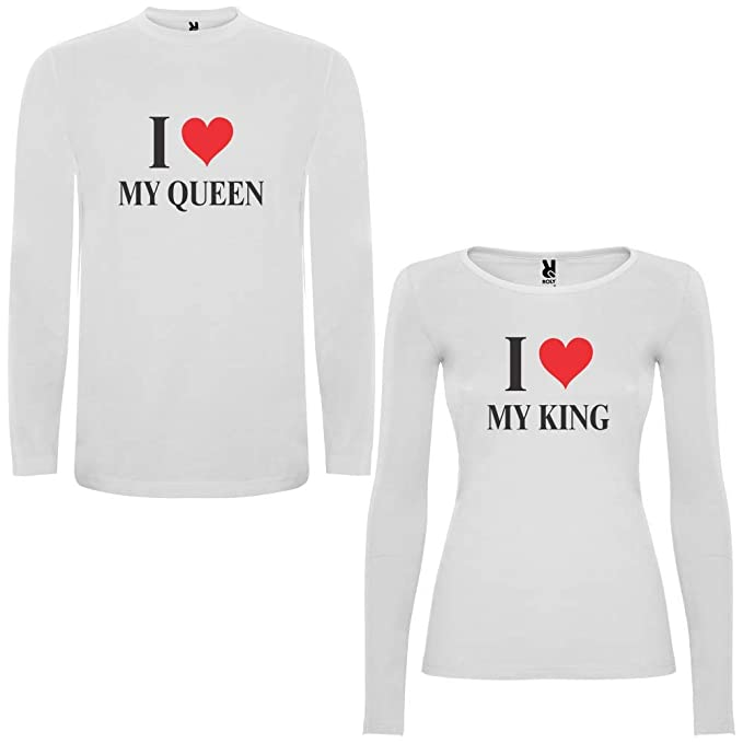 Pack de 2 Camisetas Blancas Manga Larga para Parejas I Love My King y I Love
