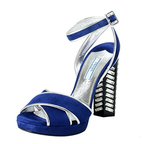 Prada Women's Suede Leather Studded High Heel Sandals Shoes US 6.5 IT 36.5 Blue ()