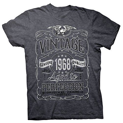 Vintage Aged Perfection 1968 - Distressed Print - 50th Birthday Gift T-Shirt - Dk. - Orders Free All On Shipping