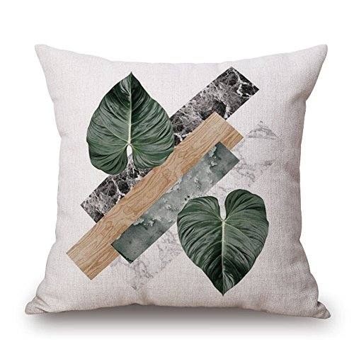 JES&MEDIS Spring Green Fern Leaf Pattern Pillow Case Home Bed Room Decorative Cushion Cover Soft Linen Cotton Throw Pillowcase Square,18