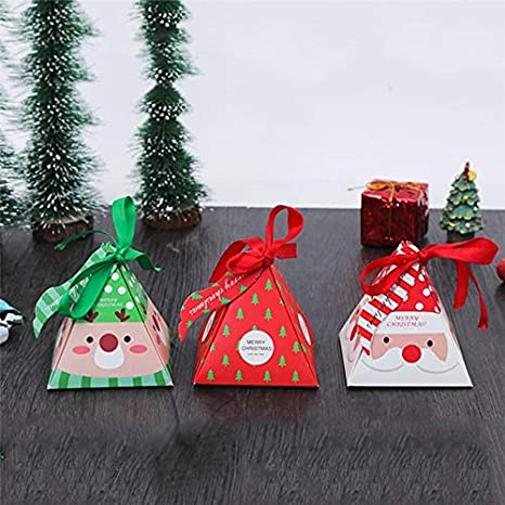 Reindeer Fascola Christmas Candy Boxes,24 Piece Pack of 3 Patterns(Santa//Reindeer// Christmas) 3Dwith Small Label and Gift Cord,Cute Ornament Box for Chocolate,Treats and Cookies