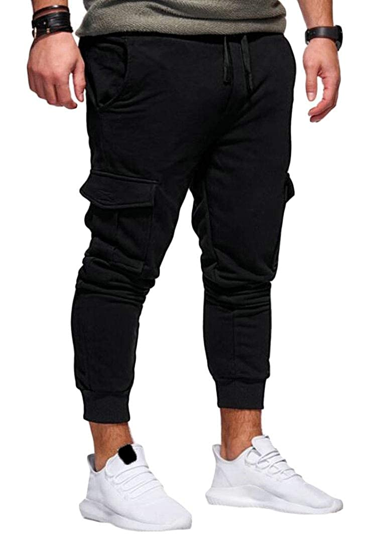 SHOWNO Mens Multi Pockets Casual Solid Drawstring Jogger Pants Sweatpants Trousers
