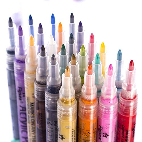 barsone Acrylic Paint Pens, 24 Colors 0.7mm Tip Paint Markers Set for Rock Painting, DIY Photo Album, Scrapbook Crafts, Ceramic, Glass, Canvas, Metal, Wood, Stone
