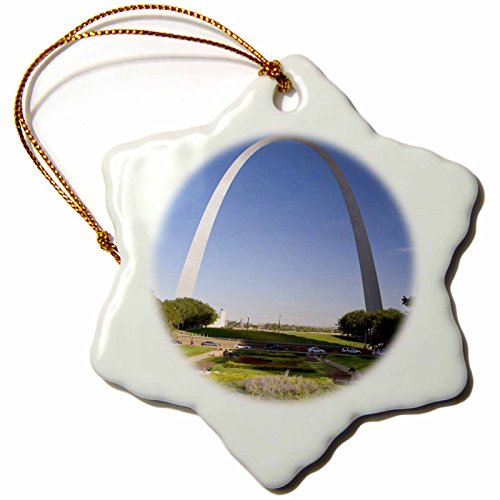3dRose orn_91512_1 Gateway Arch, St. Louis, Mississippi River, MO-US26 DFR0041-David R. Frazier-Snowflake Ornament, Porcelain, 3-Inch