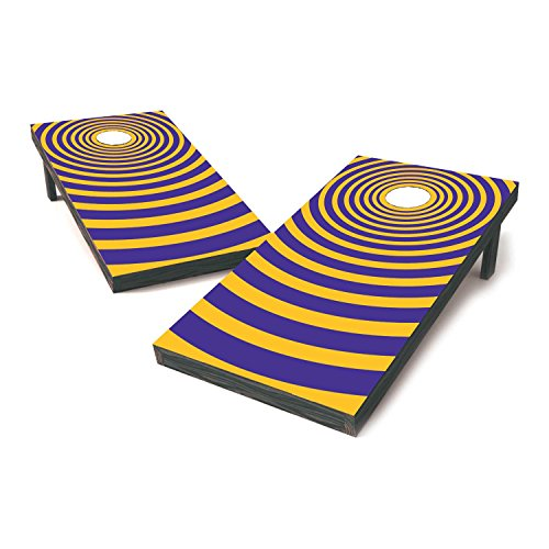 Vinyl Revolution LSU Two Tone College Football Cornhole Sticker Covers/Cornhole Board Decals/Cornhole Board Stickers/Bag Toss Stickers/Dummy Board Decals (Purple & Gold - Locked On)