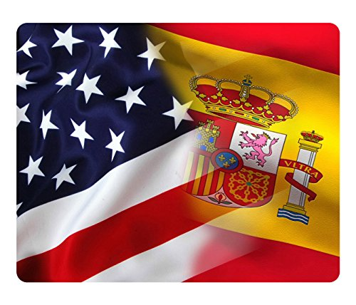 BleuReign(TM) Mixed USA and Spain Flag Square Refrigerator Fridge Magnet by BleuReign