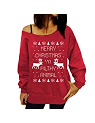Christmas Tree Xmas Sweatshirt Women Jumper Reindeer Fleece Pullover Shirts Tops