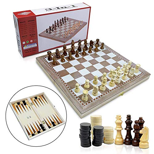 (3 in 1 Chess Set for Kids - Wooden Folding Chess Board with Storage, Chess, Checker, Backgammon with Dice Travel Set Ideal for Kids, Beginners and Adults)
