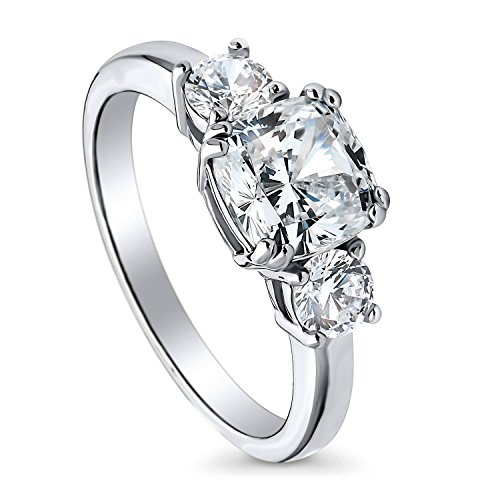 BERRICLE Rhodium Plated Silver Cushion Cut Cubic Zirconia CZ 3-Stone Promise Engagement Ring Size 7