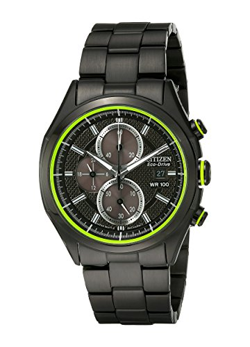 Black Dial Automatic Chronograph Watch - Drive from Citizen Eco-Drive Men's Black Ion Plated Chronograph Watch with Date, CA0435-51E