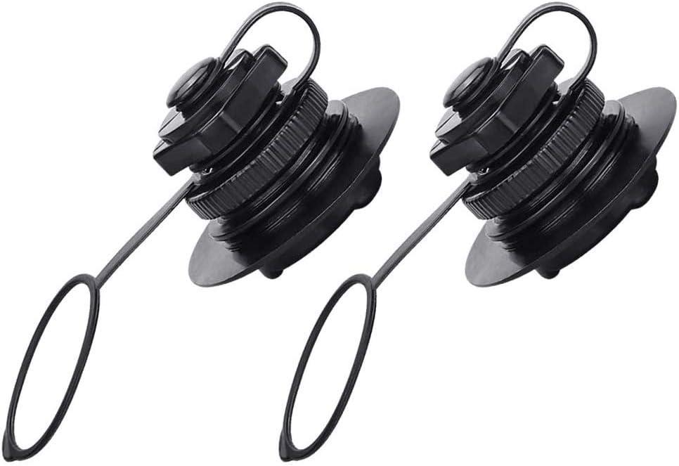 Lhbfcy Espiral Válvula para Botes Inflables Válvula De Aire Kayak Barcoa Válvula De Boston Kayak Válvula Inflable para Mayoría Los Botes Inflables, Kayak, Cama Aire, Canoa, Balsa Piscina 2Pcs(Negro)