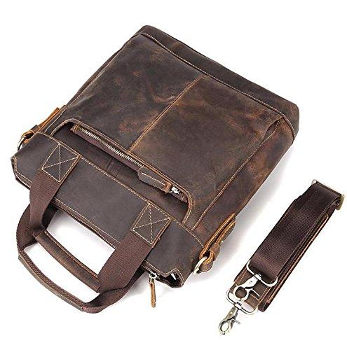 Retro hombres de cuero bolso / cuero maletín Messenger Bag / loco caballo bolsa de hombro bolso , brown brown