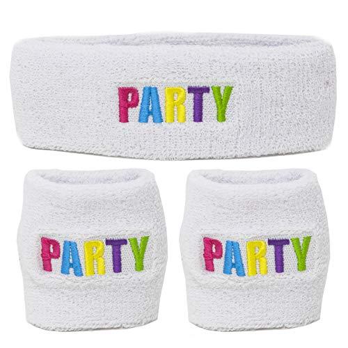 (Funny Guy Mugs Party Multi Colored Unisex Sweatband Set (3-Pack: 1 Headband + 2)