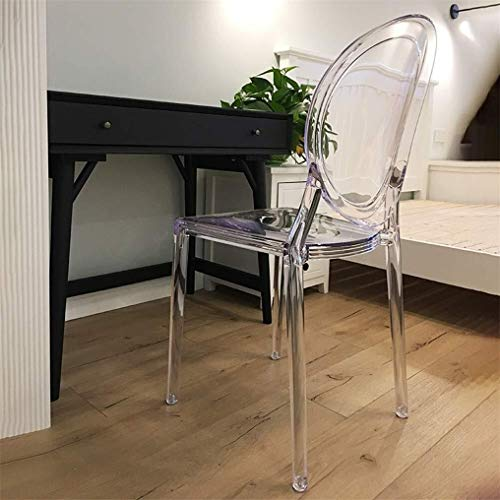 CHU N Transparente for Silla de Comedor, sillas de Cristal acrilico de la Manera Creativa nordica plastico Silla Mejor Inicio Jardin |Uso Interior y Exterior (Size : Cle