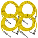 Seismic Audio - SAGC10R - 10 Foot Guitar Cable 1/4 Inch TS to Right Angle 1/4'' TS - 4 Pack Yellow Instrument Cord for Electric Bass Keyboards, 6.3mm Phono Male Plug