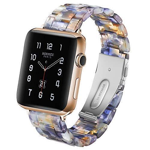 (CSVK Resin Band for App le Watch Band 38mm 40mm Men Women Compatible with iWatch Series 4 3 2 1 Band, Replacement Lightweight Waterproof Strap with Stainless Steel Buckle)