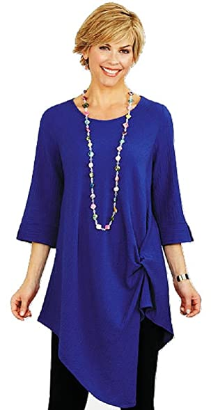 smithsonian indigo side knot tunic small at amazon women s clothing