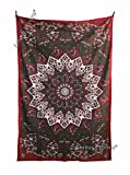 Amitus Exports TM Premium Quality 1 X Star Mandala 80''x53''(Approx.) Inches Maroon & Green Color Twin Size Cotton Fabric Tapestry Hippy Indian Mandala Throws (Handmade In India)