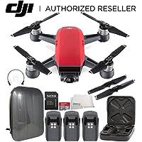 DJI Spark Portable Mini Drone Quadcopter Hardshell Backpack Ultimate Bundle (Lava Red)