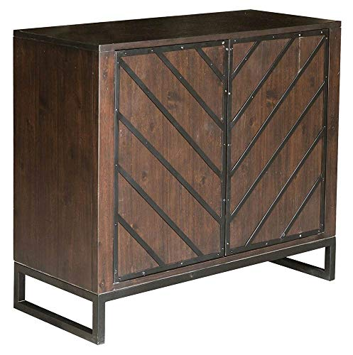 - Pulaski DS-D153-020 Modern Wood and Metal Chevron Chest Birch Brown, 36.02