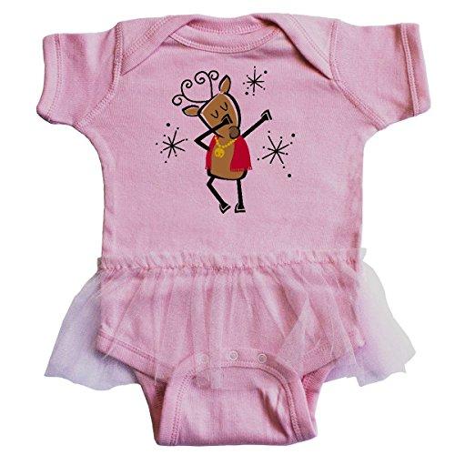 inktastic - Dabbing Dancer Reindeer Infant Tutu Bodysuit 18 Months Pink 2dde0 ()