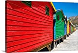 Canvas On Demand Philippe Hugonnard Premium Thick-Wrap Canvas Wall Art Print, 36'' x 24'', entitled 'Colorful Beach Huts on Muizenberg I'