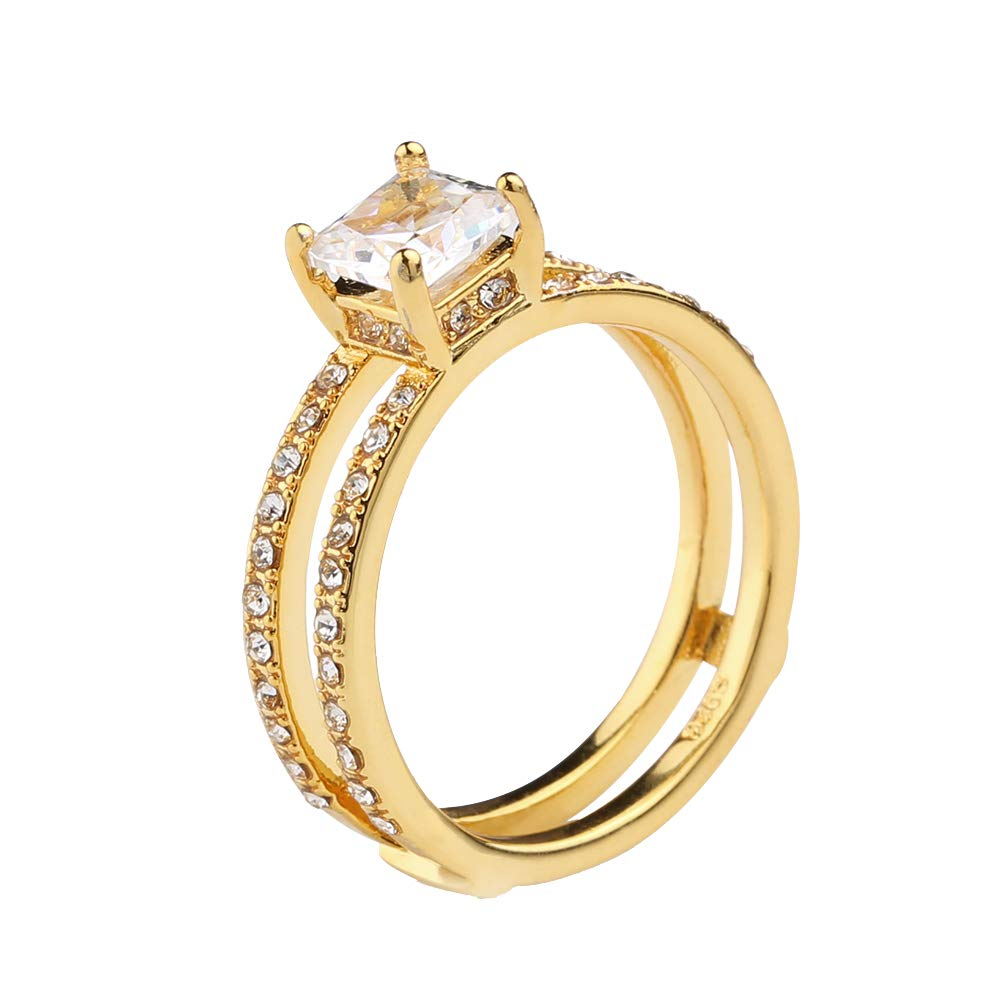 Golden US 9 skoqjFQSen Boutique Accessory Gift Rings Sparkling Double Layer Band Rhinestones Inlaid Engagement Bridal Wedding Ring