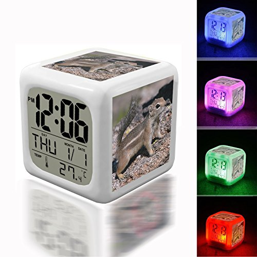 Digital Alarm Thermometer Night Glowing Cube 7 Colors Clock LED Customize the pattern 197.Harris