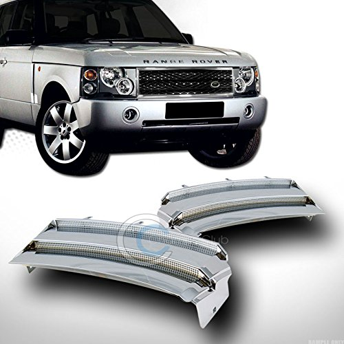 (AutobotUSA Chrome/Silver Finished Side Fender Sport Mesh Intake Vent Grill Grille Cover Version 2 for Range Rover L322 2003-2012 Models)